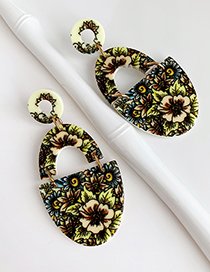 Flower Resin Printed Geometric Earrings