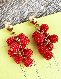 Red Alloy Imitation Pearl Ball Earrings