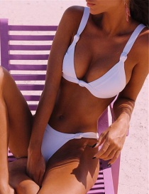 Fashion White Chest Pad Gathers Knotted Swimsuit
