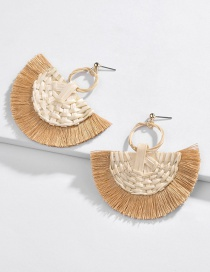 Fashion Khaki Natural Rattan Tassel Line Spiked Earrings