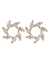 Fashion Gold Copper Inlaid Zircon Flower Earrings