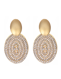Fashion Pearl + Drill Smooth Alloy Pearl Studded Geometric Earrings