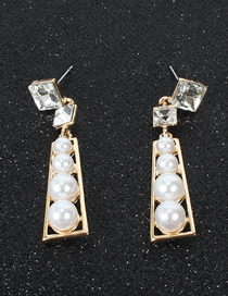 Fashion Gold Square Crystal Trapezoidal Alloy Earrings