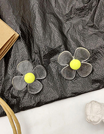 Fashion Yellow Transparent Flower Acrylic Earrings