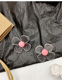 Fashion Pink Transparent Flower Acrylic Earrings