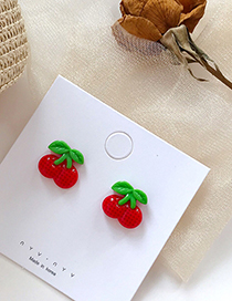 Fashion Red Cherry S925 Silver Needle Fruit Earrings Earrings