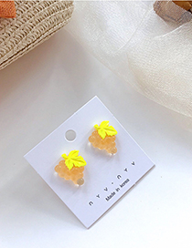 Fashion Yellow S925 Silver Fruit Grape Acrylic Earrings