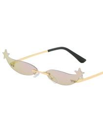 Gold Frame Purple Mercury Small Box Stars Sunglasses