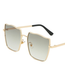 Gold Frame Gradient Green Square Metal Gradient Sunglasses