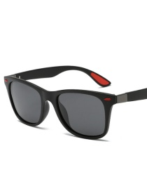 Black Frame Black Gray Piece Square Polarized Sunglasses