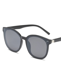 Black Frame Black Gray Piece Round Big Box Sunglasses