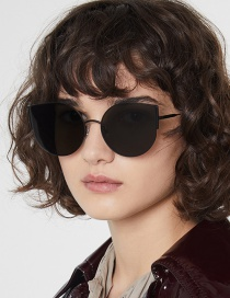 Black Frame Black Gray Piece Round Cat Eye Sunglasses