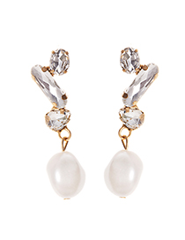Fashion White Alloy Diamond Pearl Stud Earrings