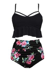 Black + Black Print Pants High Waist Printed Bikini