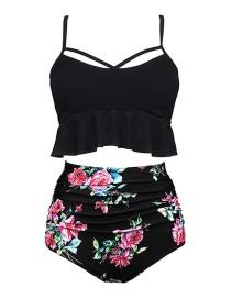 Black + Black Print Pants High Waist Printed Bikini