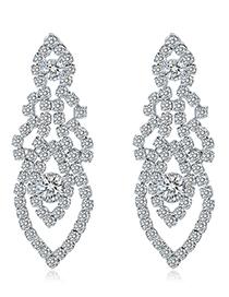 White K Alloy Diamond Stud Earrings