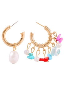 Fashion Gold Alloy Diamond-studded Pearl Flower Earrings