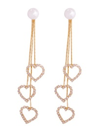 Fashion Gold Alloy Diamond-studded Tassel Earrings