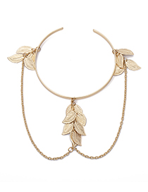 Fashion Gold Geometric Leaves Tassel Chain Open Arm Bracelet