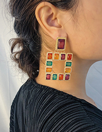 Fashion Gold Acrylic Geometric Square Contrast Earrings