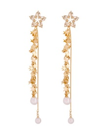 Fashion Gold Alloy Pearl Pentagram Tassel Stud Earrings