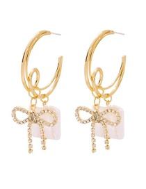 Fashion Gold Alloy Diamond Pearl Bow Earrings