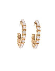Fashion Pearl Alloy Diamond Round Earrings