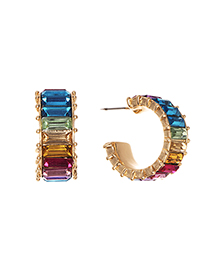 Fashion Color Alloy Diamond Wide Round Earrings