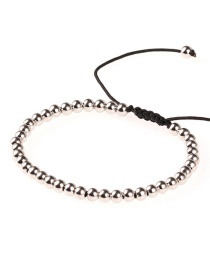 Fashion Silver Solid Copper Beads Adjustable Braided Bracelet