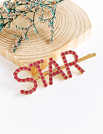 Fashion Red Alloy Diamond Letter Star Word Hairpin
