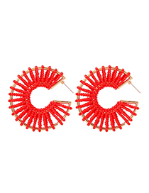 Fashion Big Red Alloy Rice Beads Round Earrings