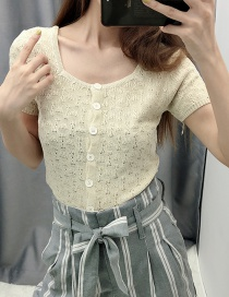 Fashion Beige Square Collar Single-breasted Sweater
