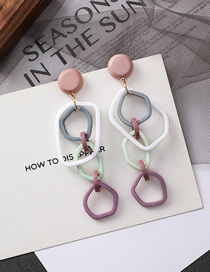 Fashion Pink Button Colored Irregular Contrast Acrylic Earrings