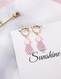 Fashion Pink Openwork Mesh Metal Pineapple Love Knotted Earrings