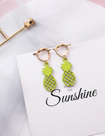 Fashion Green Openwork Mesh Metal Pineapple Love Knotted Earrings