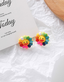 Fashion Ear Hook Color Flower Smiley Earrings