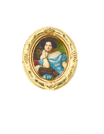 Fashion Gold Embossed Painted Matte Gold Oval Painting Brooch