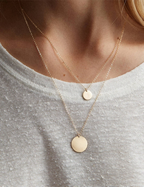 Fashion Gold Double Stainless Steel Round Necklace