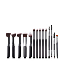 Fashion Black 14 Sets Of Five Big Five Small Double Head Makeup Brushes