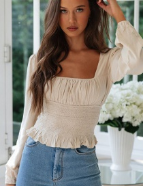 Fashion Creamy-white Ruffled Collarless Shirt