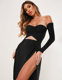 Fashion Black Wrapped Chest And Navel Fake Two-piece Split Dress