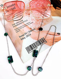 Fashion Green Alloy Geometry Resin Glasses Chain