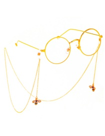 Fashion Gold Metal Color-studded Bee Glasses Chain