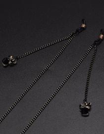 Fashion Black Halter Crystal Bow Glasses Chain