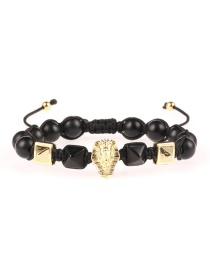 Fashion Black Egyptian Pharaoh Diamond Conical Stone Wrap Bracelet