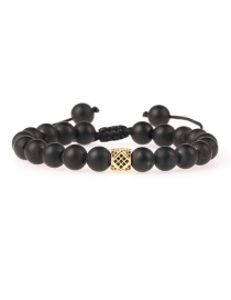 Fashion Black Matte Black Agate Beaded Zircon Bracelet
