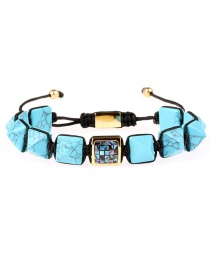Fashion Blue Turquoise Pyramid Conical Stone Gold Plated Full Diamond Color Shell Pull Braided Bracelet
