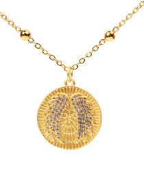 Fashion Gold Matte Wings With Diamond Necklace