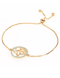 Fashion Tree Of Life Golden Micro-inlaid Pull-out Gold Thin Bracelet