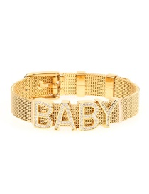 Fashion Gold Letter Stainless Steel Gold Color Mesh Strap With Zircon Bracelet